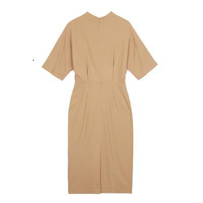half neck long dress beige